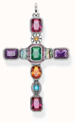 Thomas Sabo Pendant 'Cross' Colourful Stones 925 Sterling Silver PE859-294-7