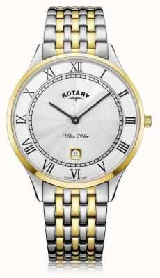 Rotary | Men's Ultra Slim | Two-Tone Stainless Steel | White Dial | GB08301/01