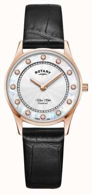 Rotary | Women's Ultra Slim Black Leather | Mother Of Pearl Diamond Dial LS08304/41/D