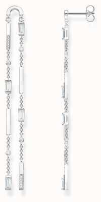Thomas Sabo Sterling Silver Angular Stones, Baguette Cut Long Earrings H2090-051-14