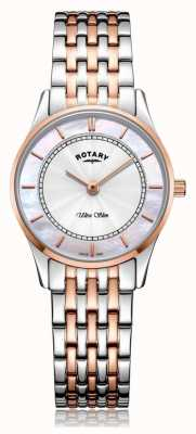 Rotary | Women's Ultra Slim Two-Tone Bracelet | Mother Of Pearl | LB08302/07/D