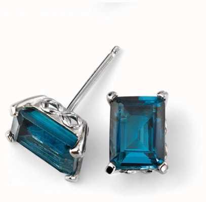 Elements Gold 9ct White Gold London Blue Topaz Stud Earrings GE2082T