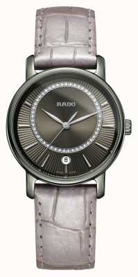 Rado DiaMaster Diamonds Grey Leather Strap Grey Dial Watch R14064715
