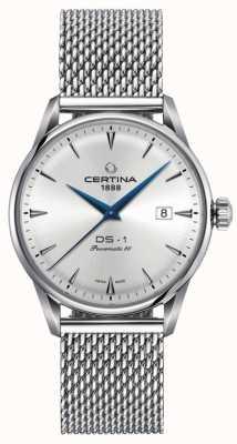 Certina | DS-1 Powermatic 80 | Silver Mesh Bracelet | Silver Dial | C0298071103102