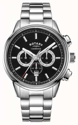 Rotary | Men's Cambridge Chronograph | Black Dial | Stainless Steel GB05395/04