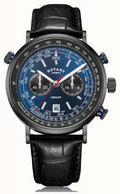 Rotary | Men's Henley Chronograph | Blue Dial | Black Leather Strap GS05238/05