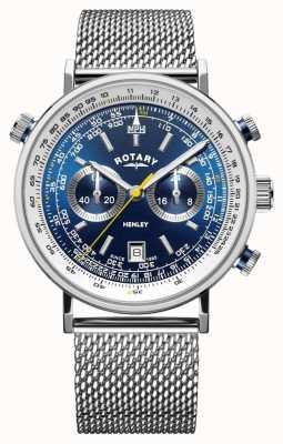 Rotary | Men's Henley Chronograph | Steel Mesh Bracelet | Blue Dial GB05235/05