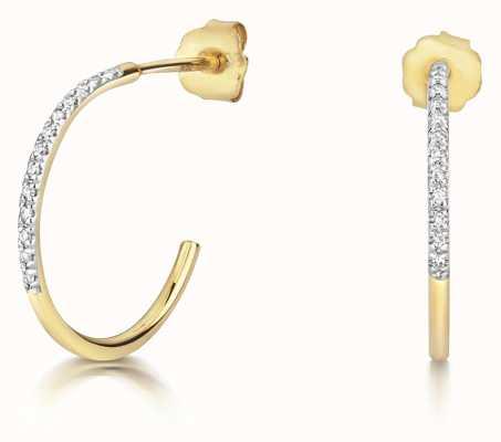 James Moore TH 9ct Gold 0.04ct Diamond Hoops ED358