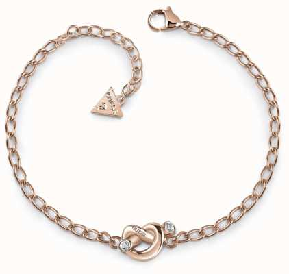Guess Women's Rose Gold Knot Bracelet UBB29020-L