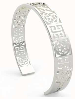 Guess Women's 'Peony Art' Silver Cut Out Bangle UBB29104