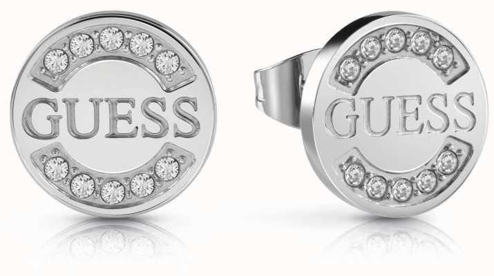 Guess Womens 'Uptown Chic' Silver Coin Stud Earrings UBE28028