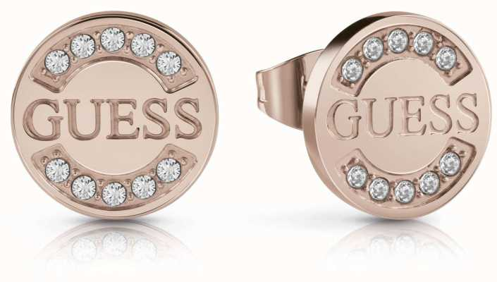 Guess Women's 'Uptown Chic' Rose Gold Coin Stud Earrings UBE28030