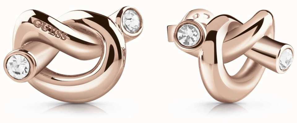 Guess Women's Rose Gold Knot Stud Earrings UBE29014