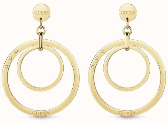 Guess Women's 'Eternal Circles' Large Gold Multi Hoop Earrings UBE29023