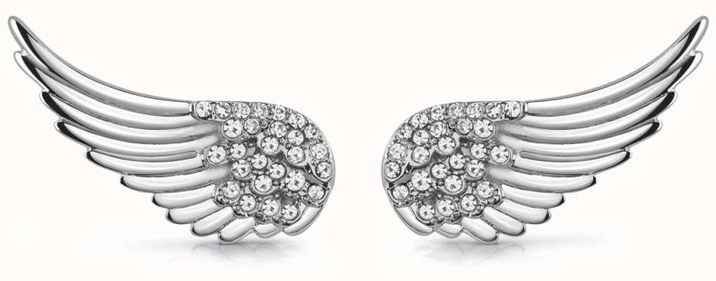 Guess Fly With Me | Women's Silver Wing Stud Earrings UBE29065