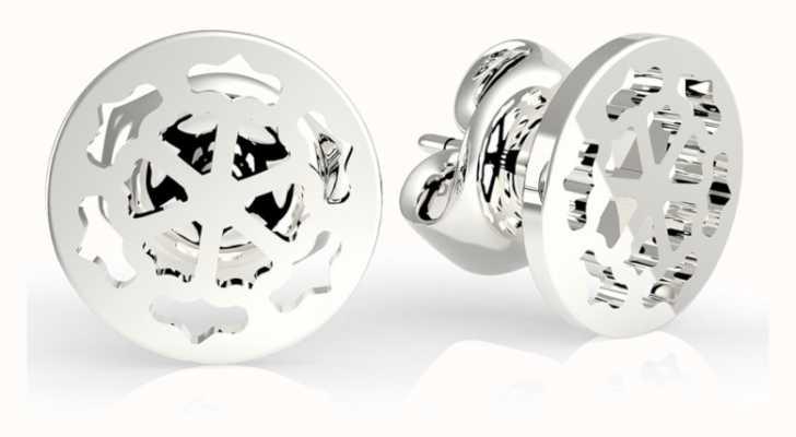 Guess Women's 'Peony Art' Silver Cut Out Stud Earrings UBE29075