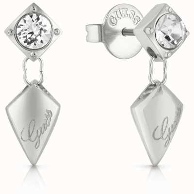 Guess Women's Matelasse Silver Drop Stud Earrings UBE29097