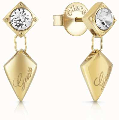 Guess Women's Matelasse Gold Drop Stud Earrings UBE29098