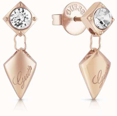 Guess Women's Matelasse Rose Gold Drop Stud Earrings UBE29099