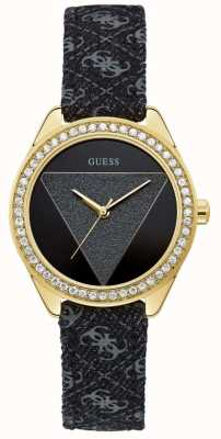 Guess | Women's Tri Glitz | Black Leather Strap | Black Dial | W0884L11