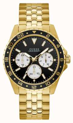 Guess | Men's Odyssey | Gold Tone Bracelet | Black Dial | W1107G4