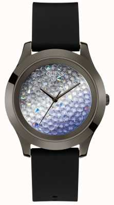 Guess | Women's Crush | Black Rubber Strap | Crystal Set Dial | W1223L4