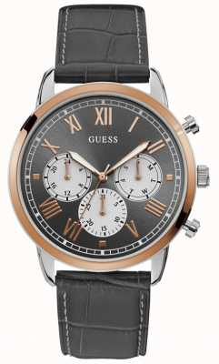 Guess | Men's Hendrix | Black Leather Strap | Grey Dial | W1261G5
