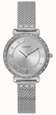 Guess | Women's Jewel | Silver Mesh Bracelet | Silver Crystal Dial W1289L1