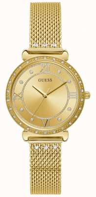 Guess | Women's Jewel | Gold Mesh Bracelet | Gold Crystal Dial | W1289L2