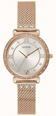 Guess | Women's Jewel | Rose Gold Mesh | Silver Crystal Dial | W1289L3