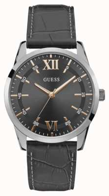 Guess | Men's Theo | Black Leather Strap | Grey Dial | W1307G1
