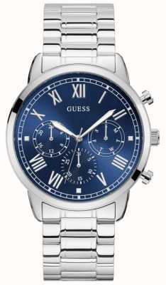 Guess | Men's Hendrix | Stainless Steel Bracelet | Blue Dial | W1309G1
