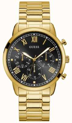 Guess | Men's Hendrix | Gold Plated Bracelet | Black Dial | W1309G2