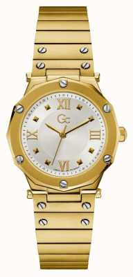 Gc | Spirit Lady | Gold Stainless Steel Bracelet | Silver Dial Y60004L1MF