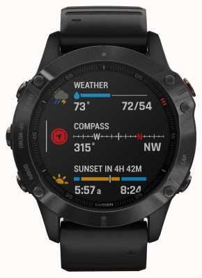 Garmin Fenix 6 Pro Gorilla Glass | Multisport Smartwatch | Black Rubber Strap 010-02158-02