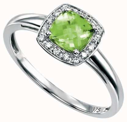Elements Gold 9ct W/g Peridot Diamond Square Ring GR509G