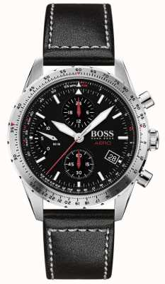 Boss | Aero | Black Chronograph | Black Leather Strap | 1513770
