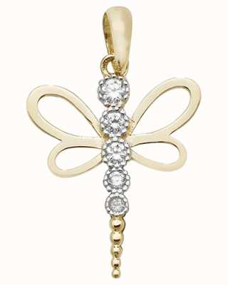 Treasure House 9ct Gold Dragonfly Cz Pendant PN1010