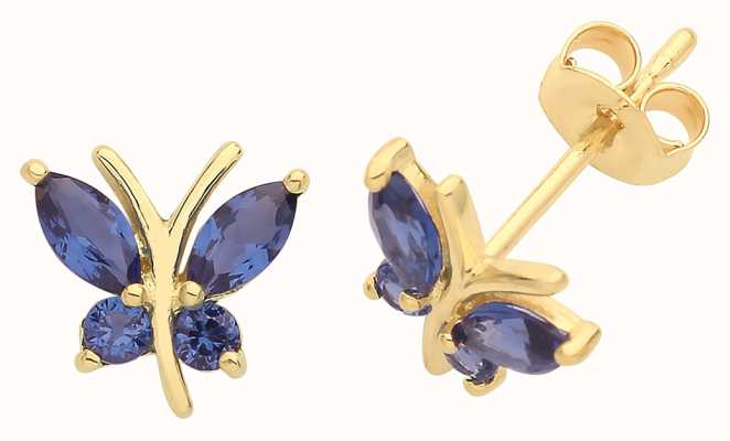 James Moore TH 9ct Gold Blue Cz Butterfly Stud Earrings ES1602S