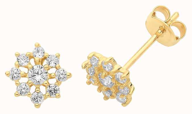 Treasure House 9ct Gold Cz Flower Stud Earrings ES1605