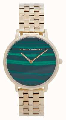 Rebecca Minkoff Women's Major | Gold Plated Steel Bracelet | Malachite Dial 2200373