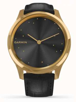 Garmin Vivomove 3 Luxe | 24ct Gold PVD Case | Black Italian Leather 010-02241-02