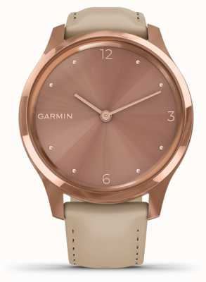 Garmin Vivomove 3 Luxe | 18ct Rose Gold PVD Case | Italian Leather 010-02241-01