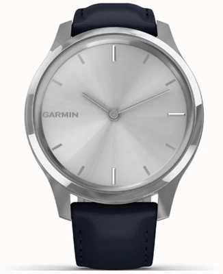 Garmin Vivomove Luxe | Stainless Steel Case | Navy Italian Leather 010-02241-00