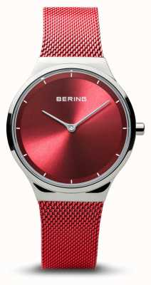Bering | Classic | Women's Polished Silver | Red Mesh Bracelet | 12131-303