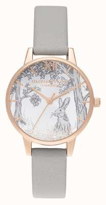 Olivia Burton | Womens | Snow Globe Winter Bunny | Grey Leather Strap OB16SG06