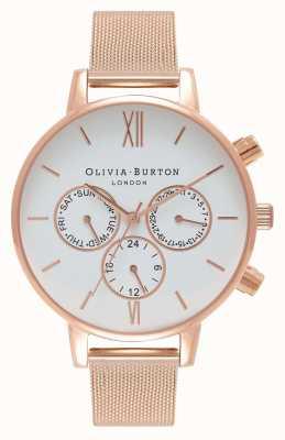 Olivia Burton Womens | White Multi Dial | Rose PVD Mesh OB16CG86