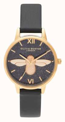 Olivia Burton | Womens | Glitter Dial | 3D Bee | Black Leather Strap | OB16GD48