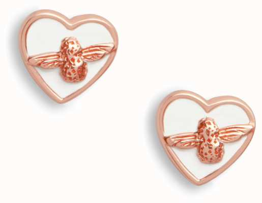 Olivia Burton | Love Bug | White And Rose Gold | Stud Earrings | OBJLHE25