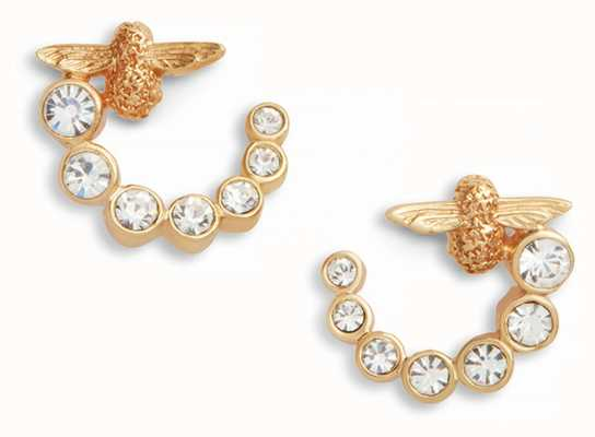 Olivia Burton | Bejewelled Bee Swirl Hoop | Gold Earrings | OBJAME161